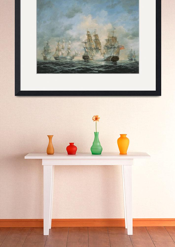 """19th Century Naval Engagement in Home Waters by R.&quot  by fineartmasters"
