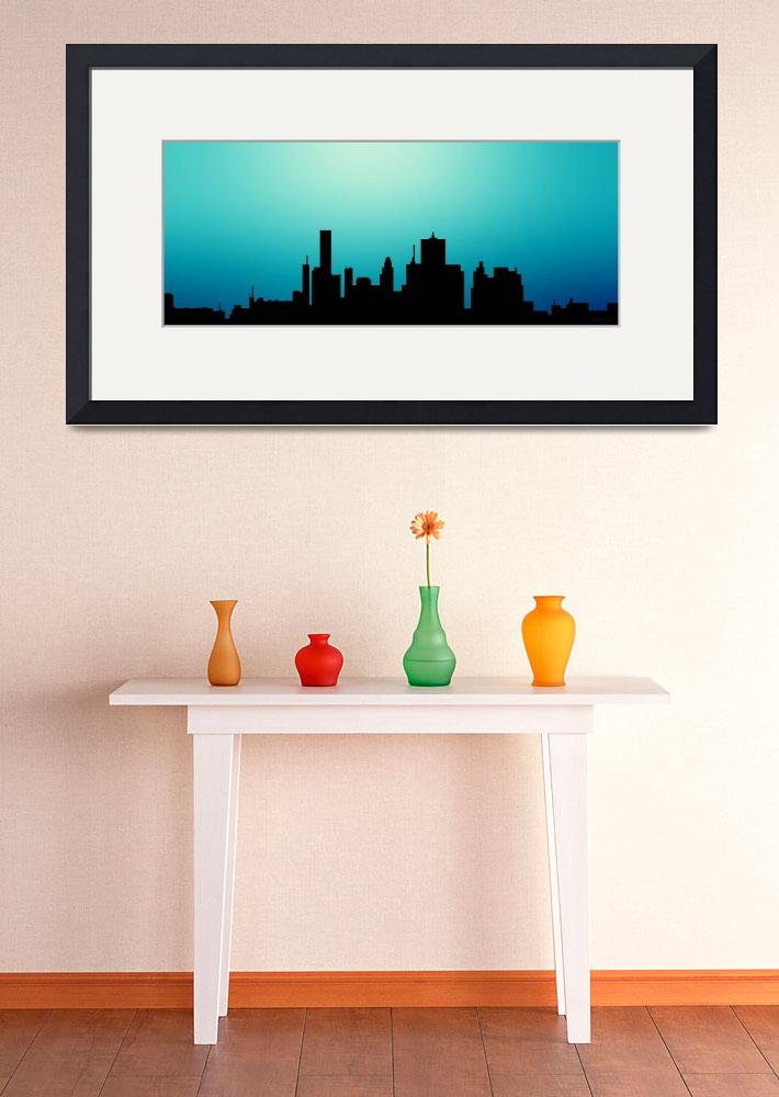 """""""Decorative Abstract Skyline Houston R1115A&quot  (2015) by MasArtStudio"""