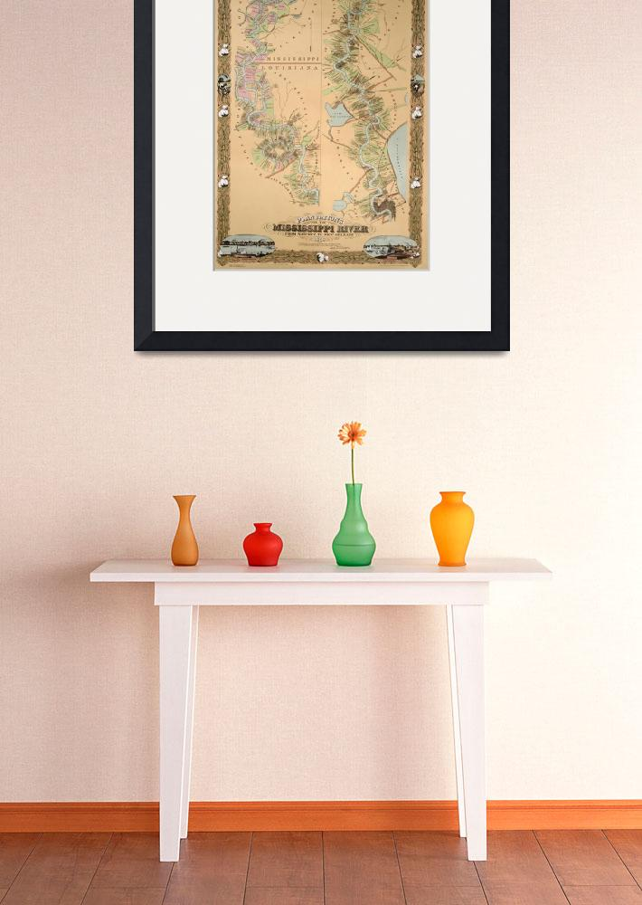 """Map depicting plantations on the Mississippi River&quot  by fineartmasters"