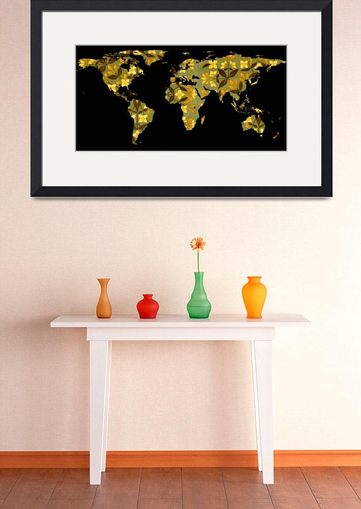 """World Map Silhouette - Yellow Flower Pattern&quot  by Alleycatshirts"