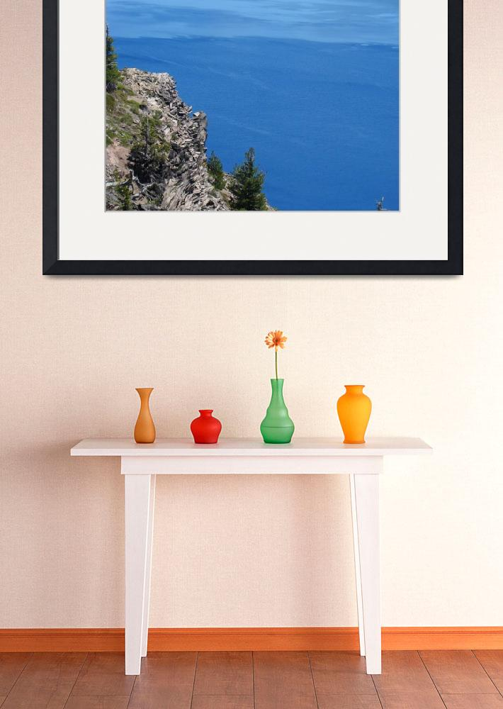 """""""Crater Lake Oregon Blue Water Rock Cliff Pines&quot  (2014) by BasleeTroutman"""