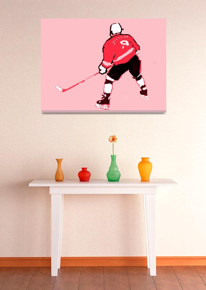 """Hockey Center pink gray red black (c)&quot  (2014) by edmarion"
