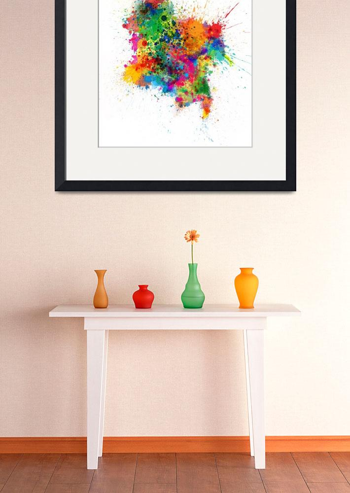 """""""Colombia Paint Splashes Map&quot  (2017) by ModernArtPrints"""