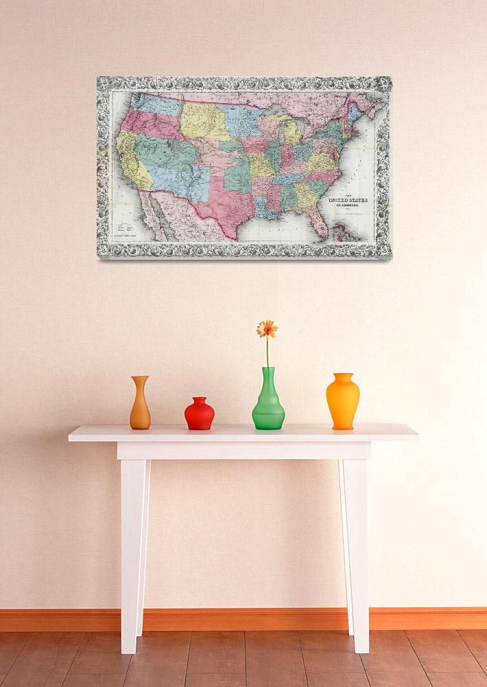 """""""Vintage United States Map (1853)""""  by Alleycatshirts"""