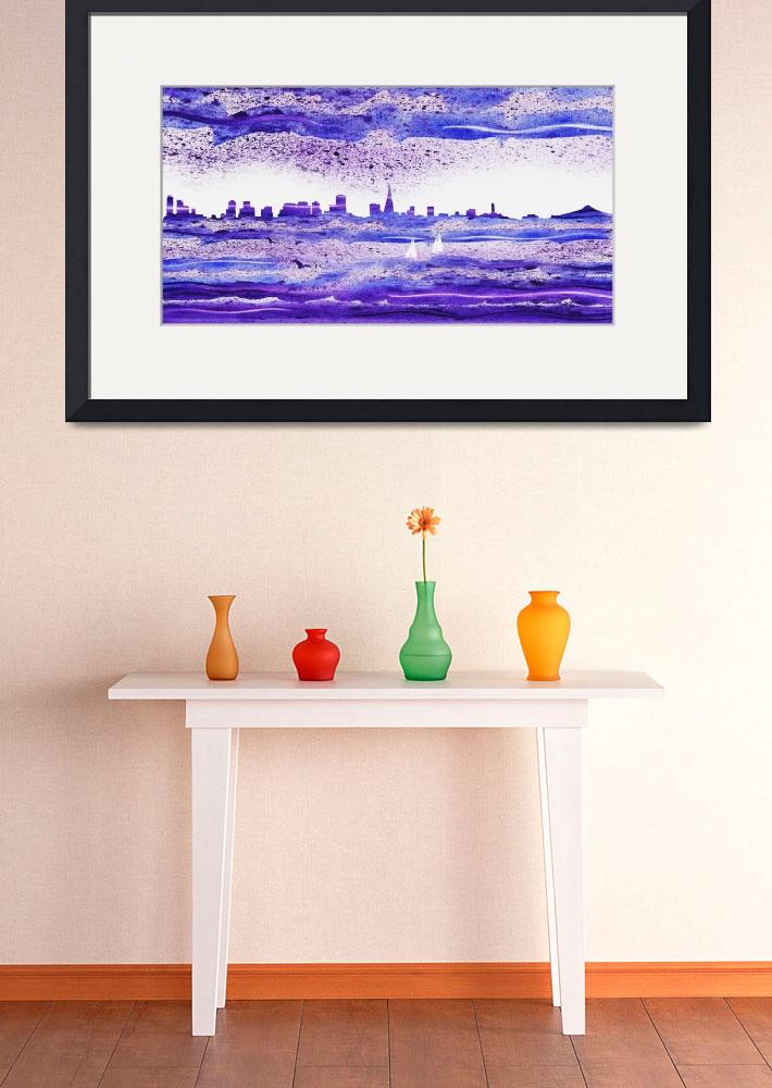 """San Francisco Blues City Skyline Painting""  (2015) by IrinaSztukowski"