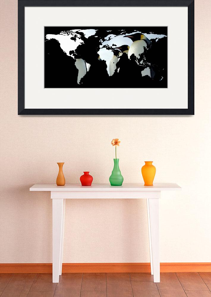 """""""World Map Silhouette - Penguins""""  by Alleycatshirts"""