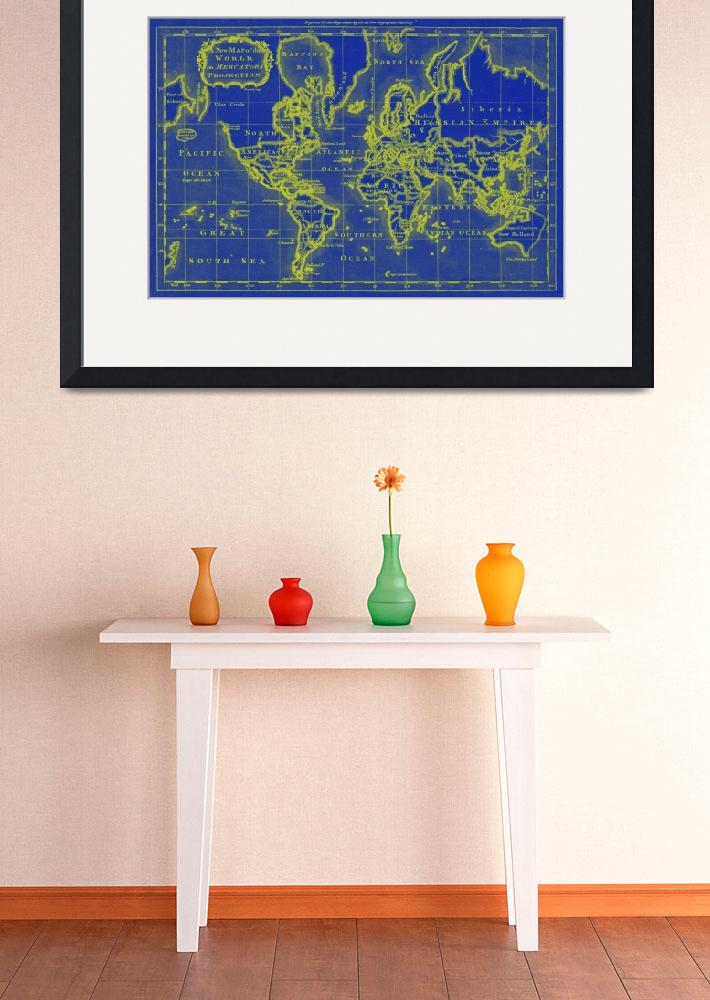 """World Map (1766) Blue & Yellow&quot  by Alleycatshirts"