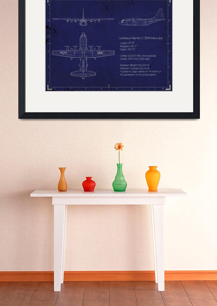 """""""C-130H Blueprint&quot  (2015) by mabrooks"""