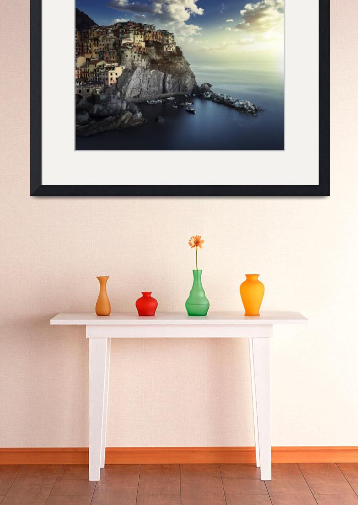 """""""View of Manarola on the rocks at sunset, La Spezia&quot  by stocktrekimages"""
