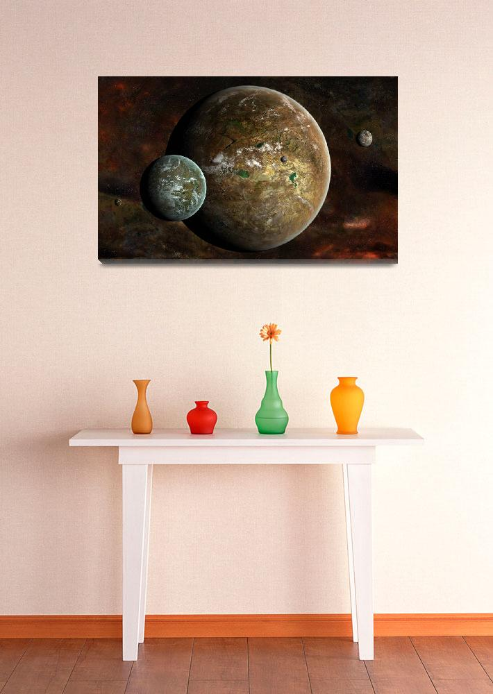 """""""A system of extraterrestrial planets and their moo&quot  by stocktrekimages"""