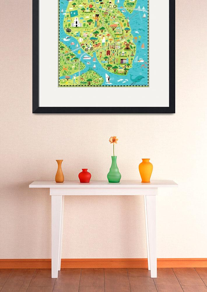 """Illustrated Map of Charleston, SC by Nate Padavick&quot  by TheyDrawandCook"