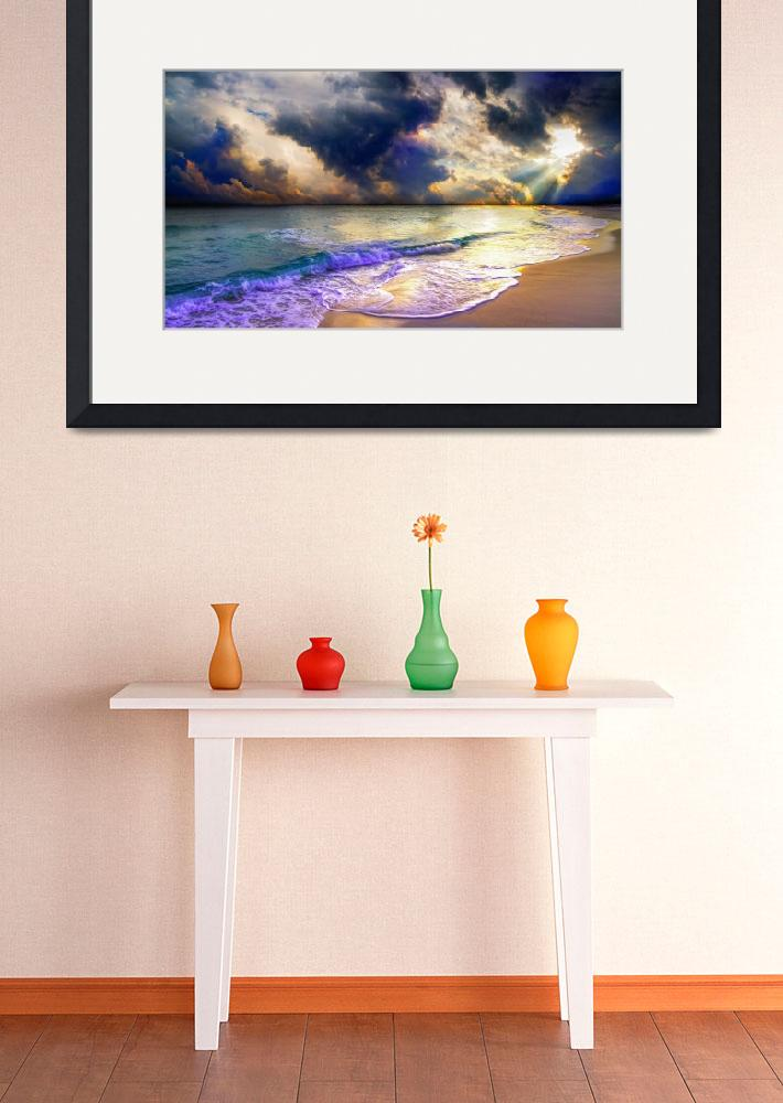 """""""panoramic blue clouds beach sunset&quot  (2015) by eszra"""