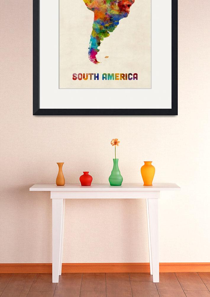 """South America Watercolor Map&quot  (2016) by ModernArtPrints"