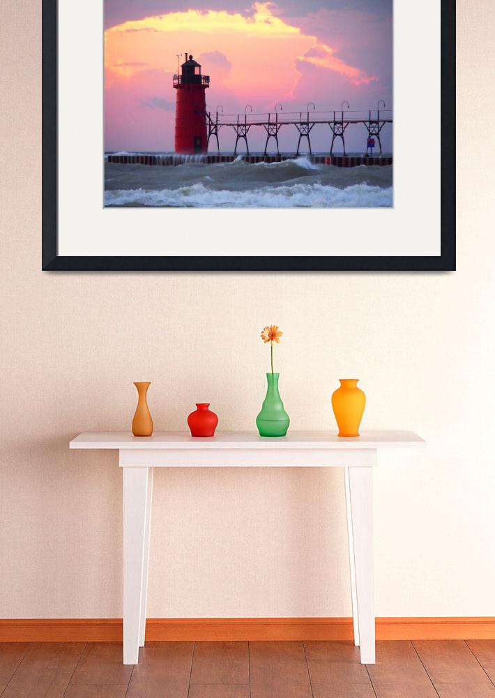 """""""South Haven Light, Michigan&quot  (2015) by RedfoxCreations"""