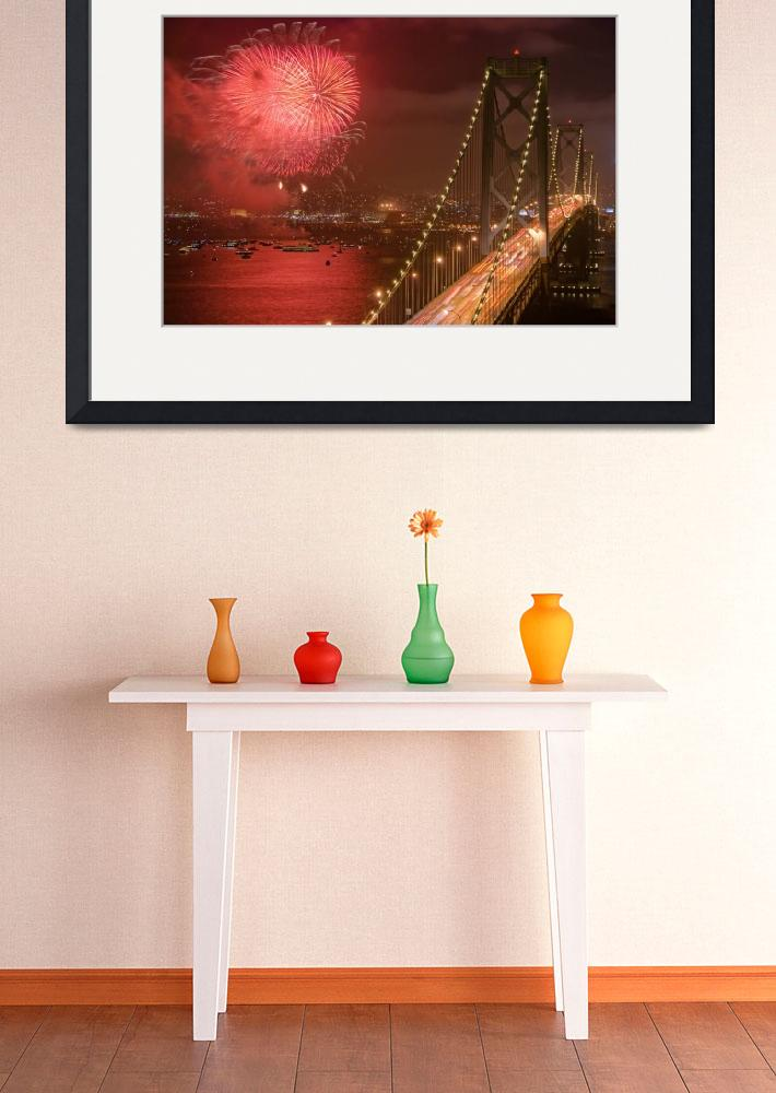 """""""Fireworks by the Bay Bridge, San Francisco&quot  (2007) by canbalci"""