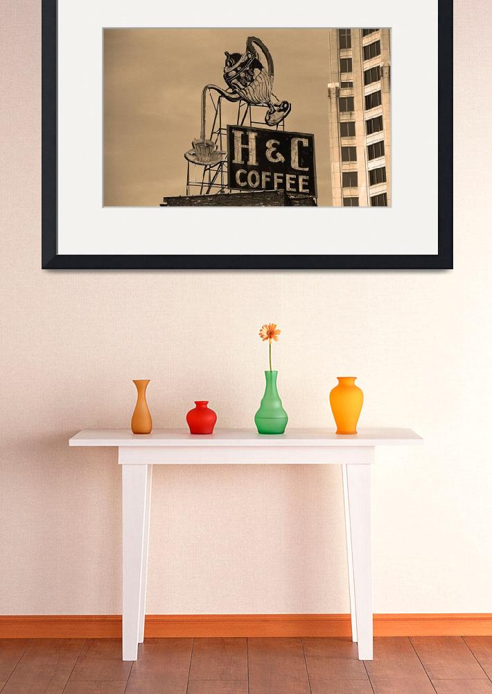 """""""Roanoke, VA - H & C Coffee Sign&quot  (2004) by Ffooter"""