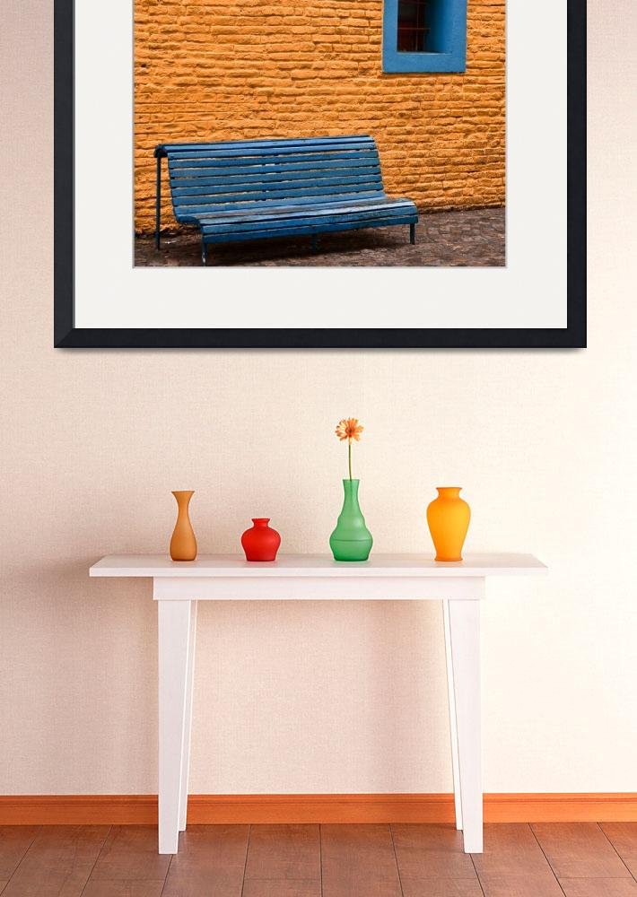 """""""Orange Wall, Blue Bench- Buenos Aires, Argentina&quot  (2011) by mjphoto-graphics"""
