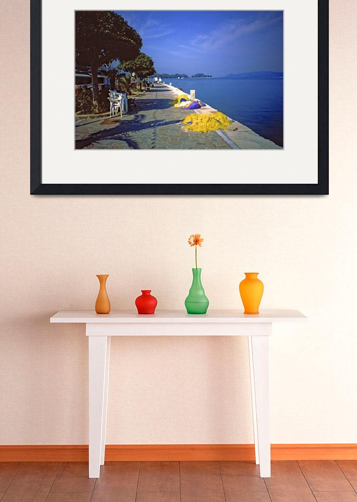 """""""Seafront with Yellow Nets, Island of Hydra, Greece&quot  (2003) by PriscillaTurner"""
