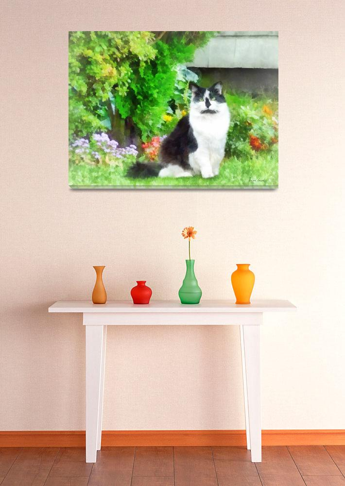 """""""Black and White Cat by Flowers""""  (2012) by susansartgallery"""