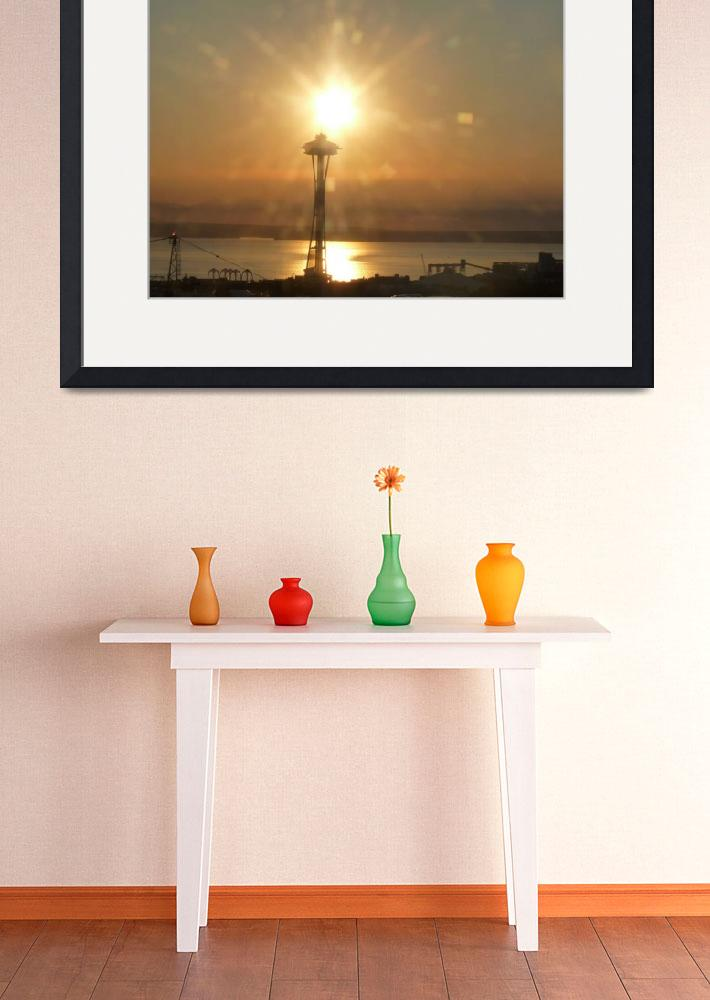 """""""Seattle Sunset Space Needle&quot  (2011) by Ken"""