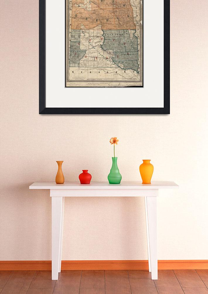 """Vintage Map of North and South Dakota (1886)&quot  by Alleycatshirts"