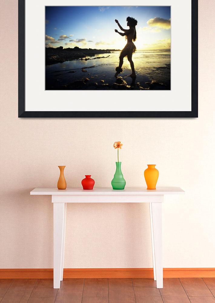 """Hawaii, Female Hula Dancer On Beach, Silhouetted B&quot  by DesignPics"