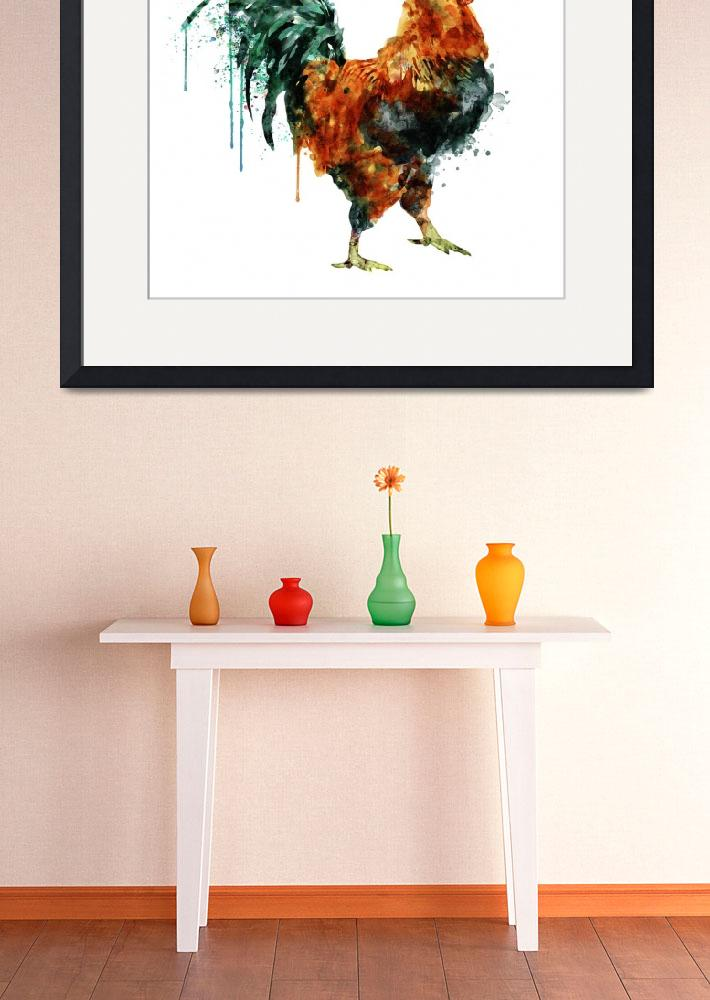 """""""Rooster Watercolor Painting&quot  (2015) by MarianVoicu"""