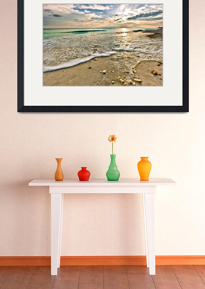 """""""Shell Covered Beach Sunset Print Landscape Art&quot  (2009) by eszra"""