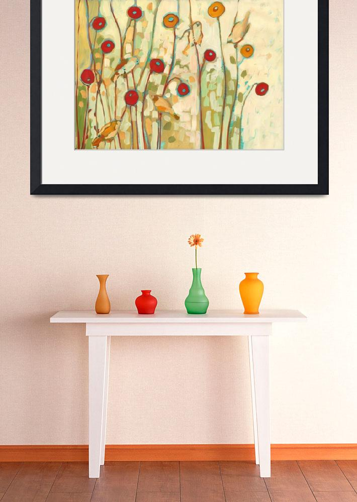 """""""Five Little Birds Playing Amongst the Poppies No 2&quot  (2010) by JENLO"""