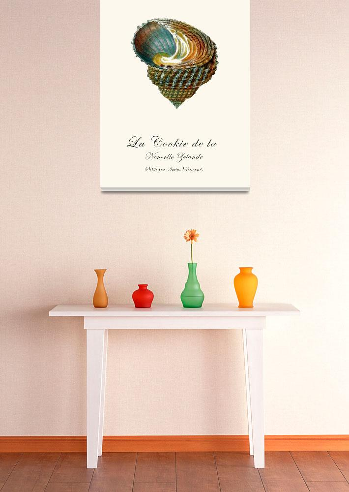 """""""Sea shell beach french vintage art poster&quot  (2012) by Lebonvintage"""