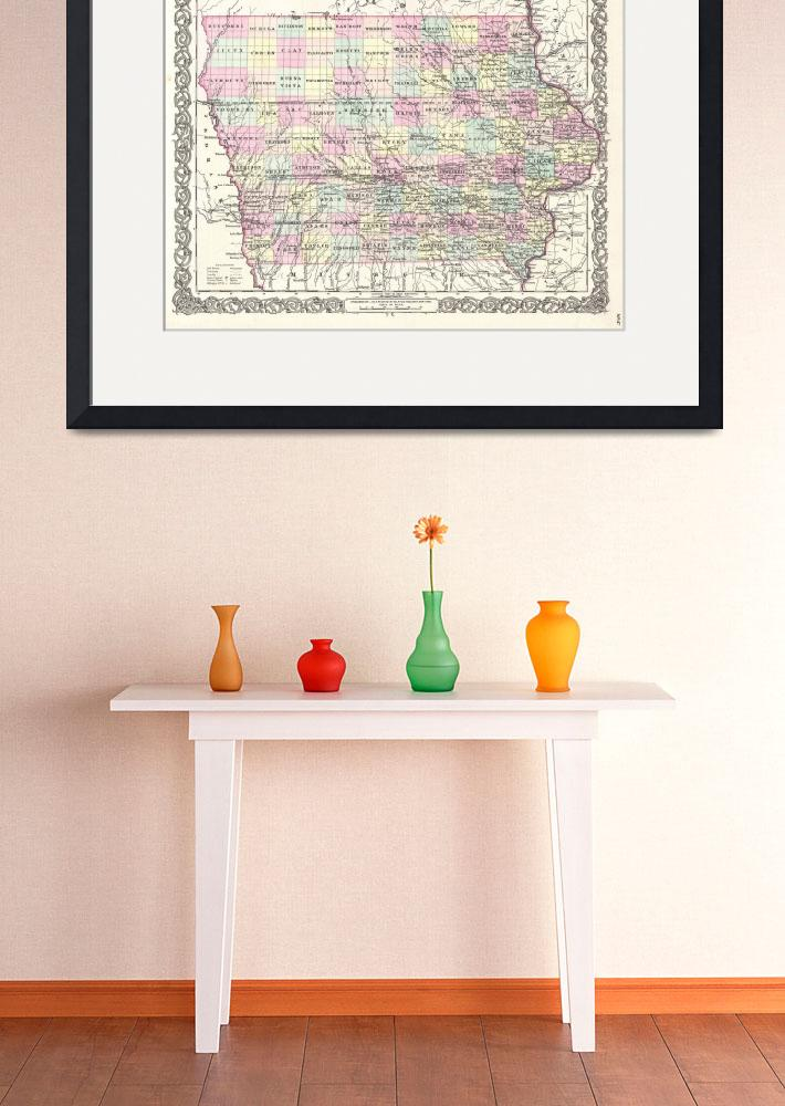 """""""Vintage Map of Iowa (1855)&quot  by Alleycatshirts"""