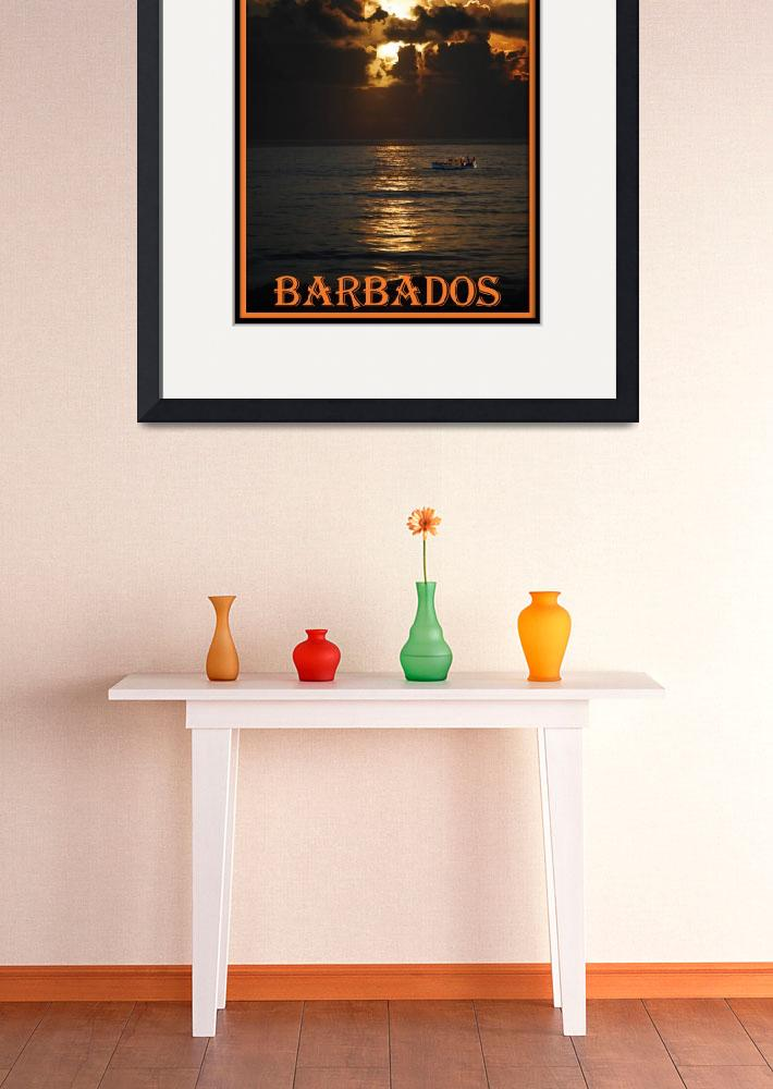 """sunriseboat BARBADOS POSTER border""  (2007) by Rogermarshall"