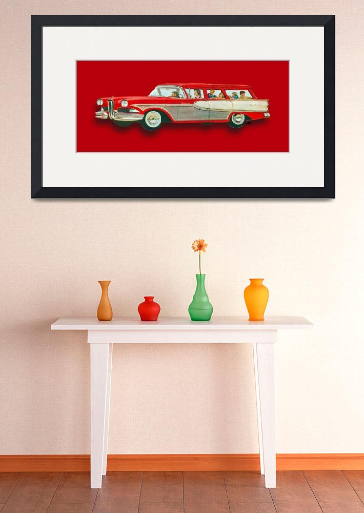 """""""Edsel Car Advertisement Wagon Red""""  (2015) by RubinoFineArt"""