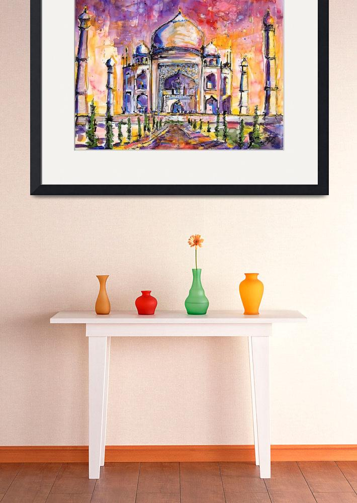 """""""Taj Mahal India Watercolor by Ginette Callaway&quot  (2005) by GinetteCallaway"""