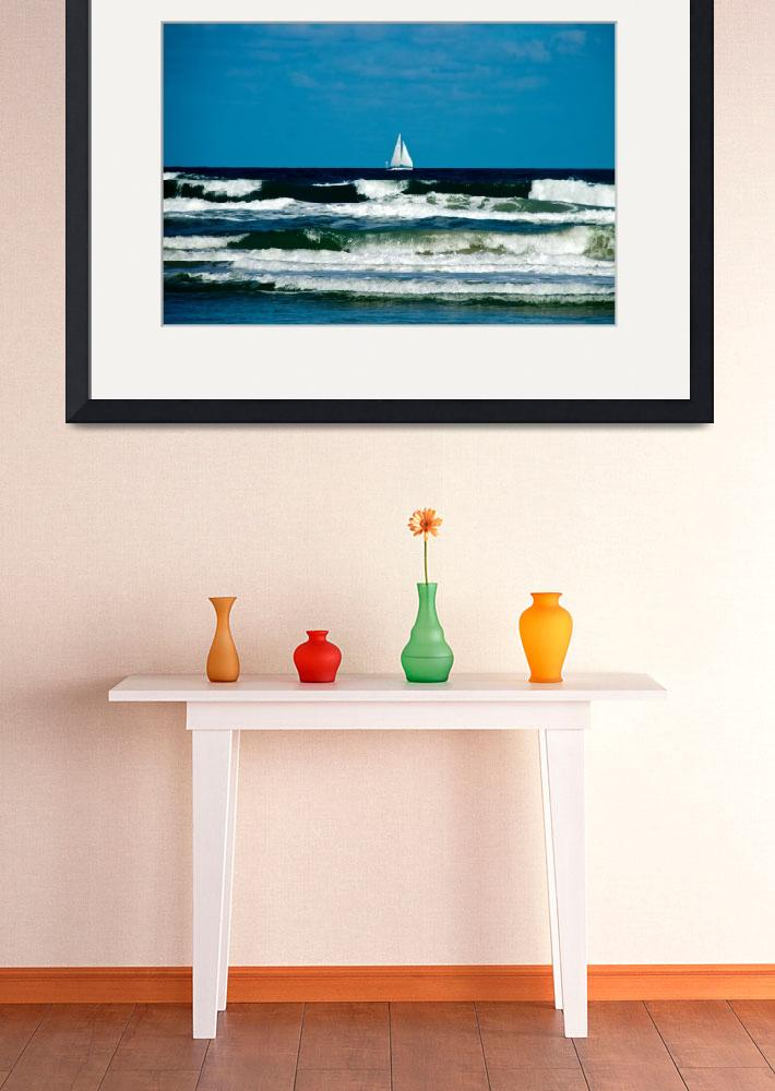 """""""Sail Boat on the Ocean&quot  (2015) by ValeriesGallery"""