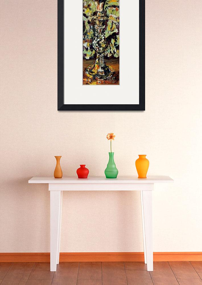 """""""Pear On Candlestand Oil Painting by Ginette Callaw&quot  (2005) by GinetteCallaway"""