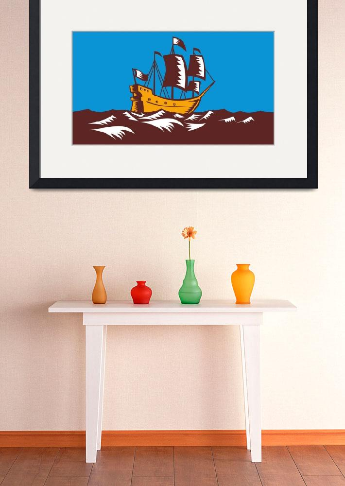 """Tall Sailing Ship Retro Woodcut&quot  (2012) by patrimonio"
