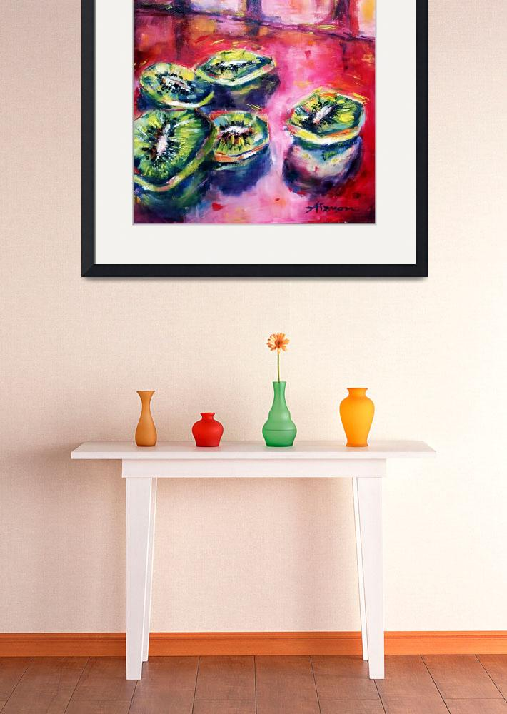 """""""Fruit from the Shuk Series - Kiwi on Crimson&quot  by AizmanArt"""