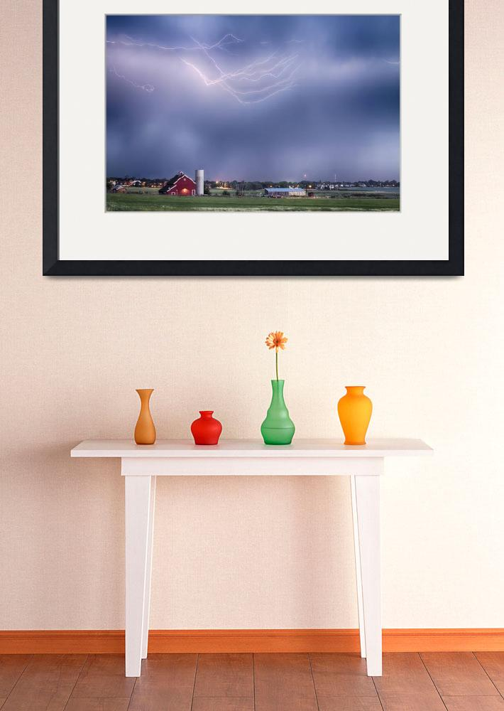 """""""Lightning Storm And The Big Red Barn&quot  (2014) by lightningman"""