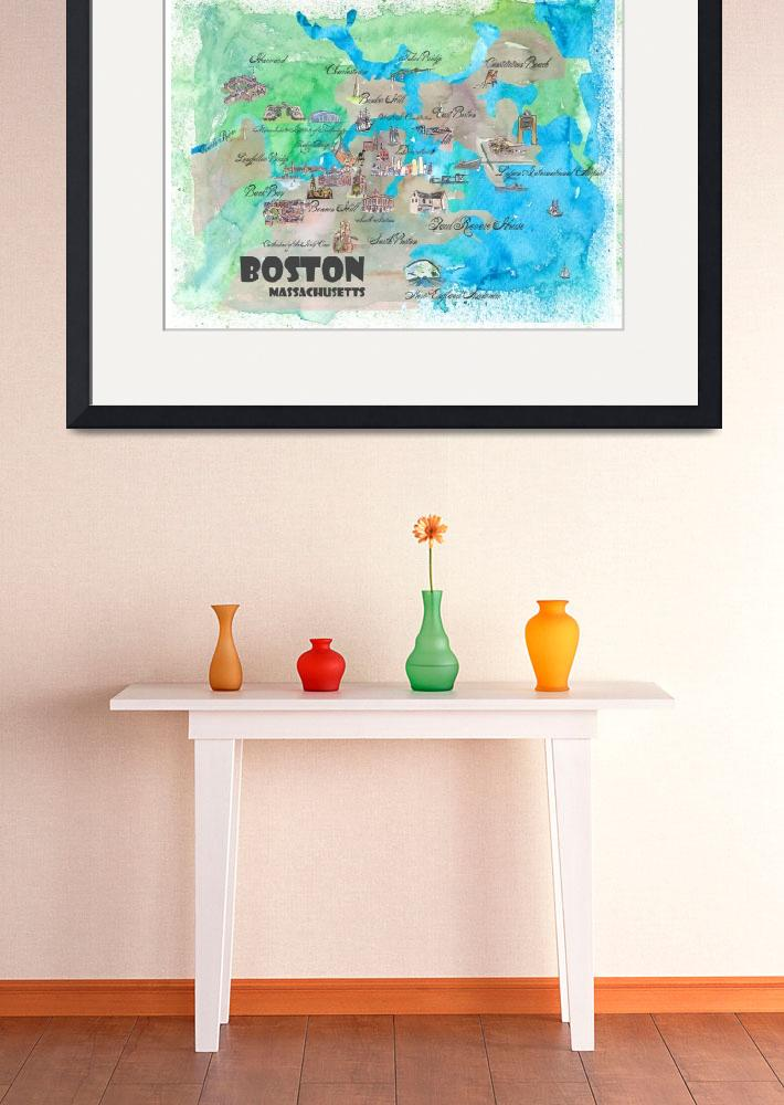 """Boston Fine Art Print Retro Vintage Map&quot  by arthop77"