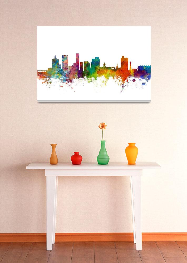 """Port Elizabeth South Africa Skyline&quot  (2015) by ModernArtPrints"