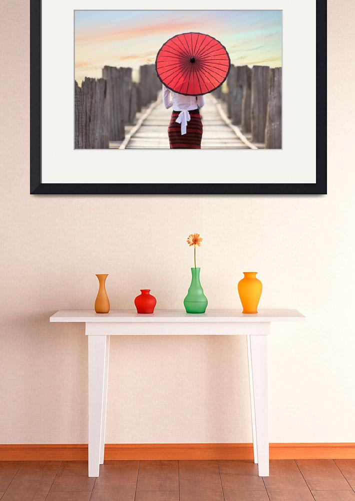 """""""Lady with Red Umbrella&quot  by ArtPrintable"""