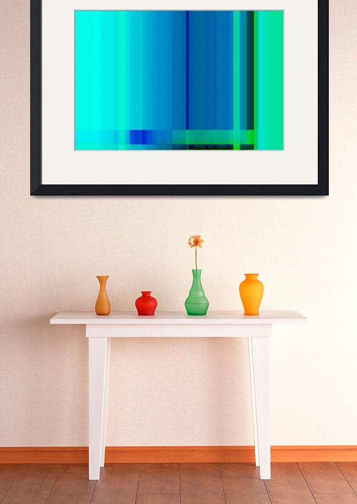 """""""Blue Turquoise Green Lines Abstract""""  (2012) by NatalieKinnear"""