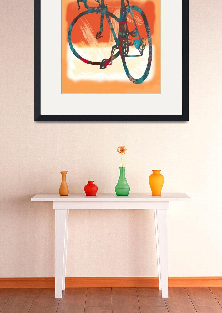 """Bicycle pop stylised paper cut art poster&quot  (2014) by visualharbour"