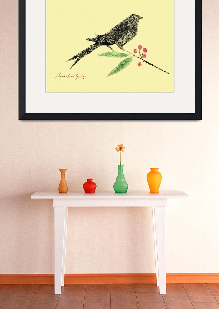 """""""Decorative Black Bird and Red Berries on Yellow L&quot  (2015) by MasArtStudio"""