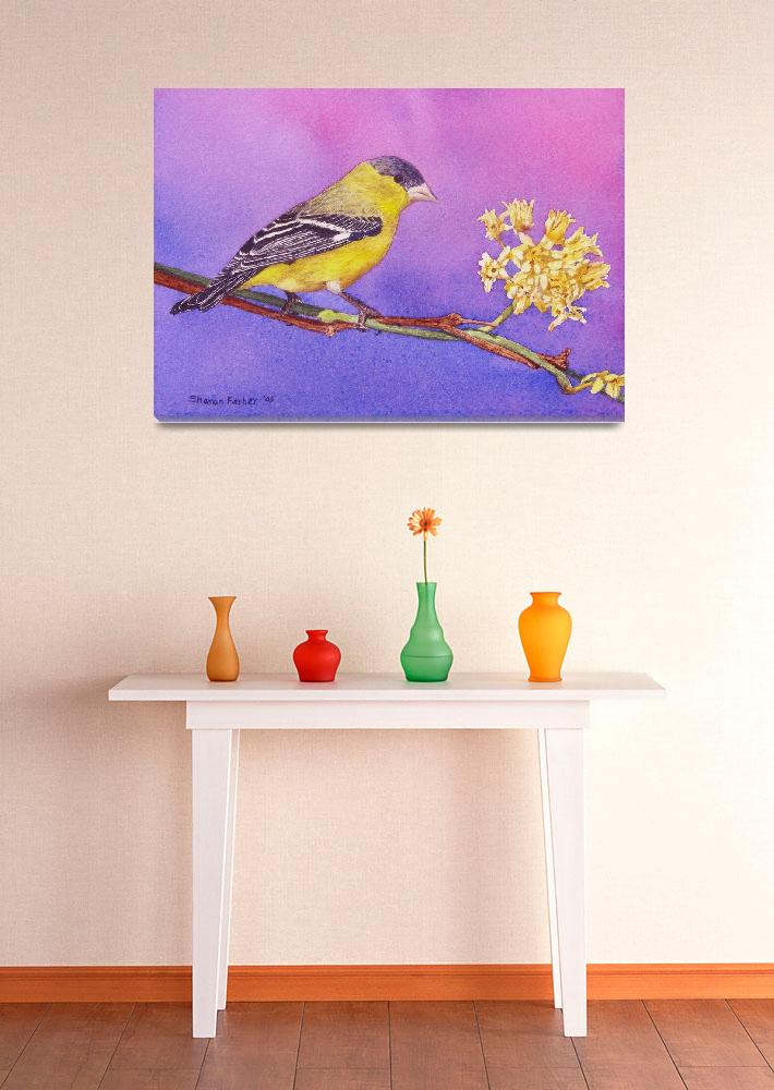 """""""Goldfinch with Flower&quot  (2006) by PaintedPathWatercolors"""