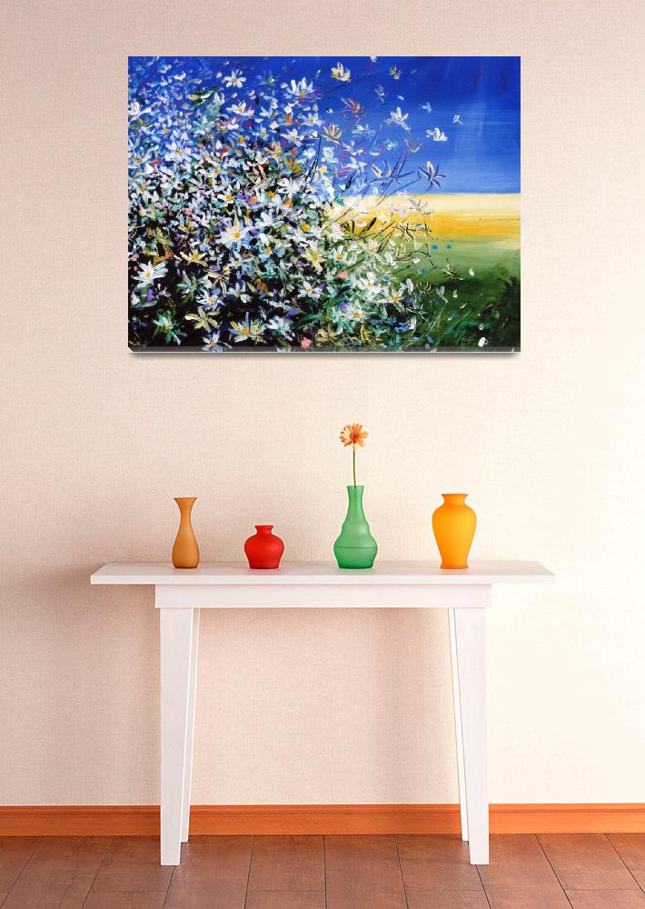 """""""Wild Daisies - Floral Painting By M. Zampedroni&quot  (2008) by zampedroni"""