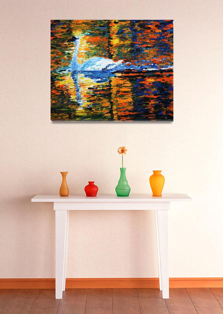 """""""Swan on a golden lake""""  (2011) by PeanutArt"""