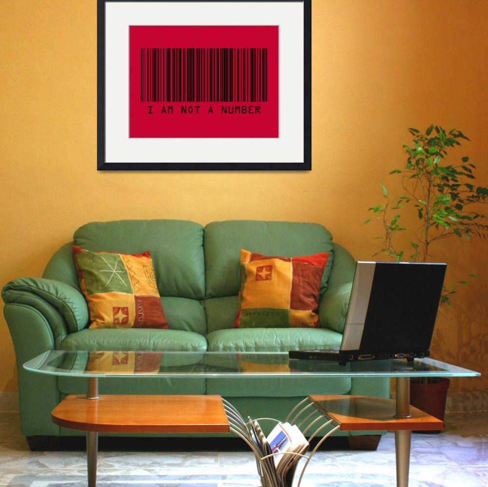 """Barcode I Am Not A Number in Red&quot  (2009) by ModernArtPrints"
