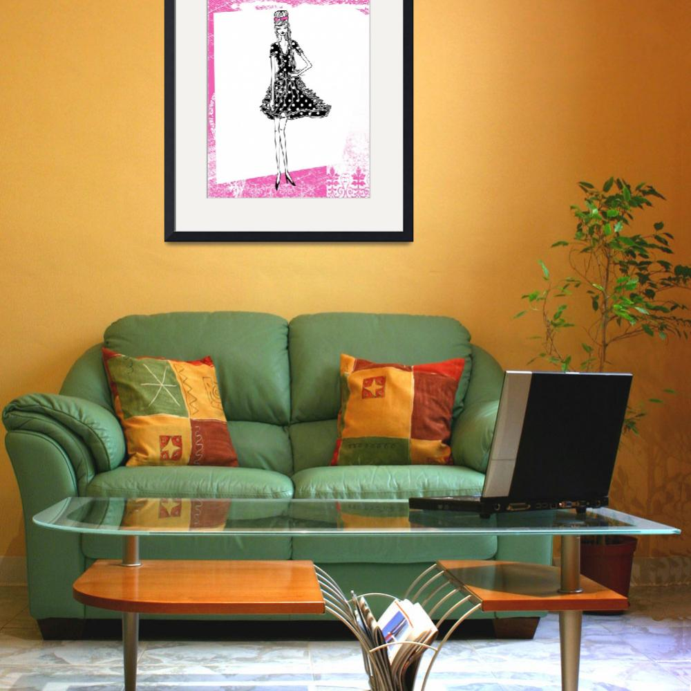 """Illustration...Fashion Girl in Hot Pink 1&quot  (2011) by chowarddesigns"